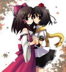 2girls ame brown_eyes brown_hair hakurei_reimu leaves miko red_eyes ribbon scarf shameimaru_aya short_hair skirt smile touhou