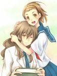 book brown_eyes brown_hair edasaki_banri hairband hug kiyama_harumi labcoat long_hair multiple_girls piku school_uniform serafuku short_hair to_aru_kagaku_no_railgun to_aru_majutsu_no_index