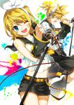 blonde_hair blue_eyes blush closed_eyes detached_sleeves eyes_closed hair_ribbon headphones highres kagamine_len kagamine_rin microphone microphone_stand midriff open_mouth paint_splatter paint_stains ress ribbon short_shorts shorts siblings smile twins vocaloid wink