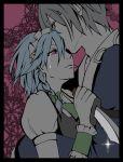 1boy 1girl bow braid couple grey_hair hair_bow hetero hug izayoi_sakuya kiss knife lenahc morichika_rinnosuke purple_eyes tears touhou