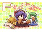 bread bread_in_mouth chibi detached_sleeves eating food green_hair japanese_clothes kochiya_sanae kome_kuma long_hair moriya_suwako okome_(kome_kuma) purple_hair short_hair touhou yasaka_kanako