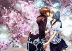 1boy 1girl cherry_blossoms couple hetero highres hokoodo holding_hands kiss original school_uniform serafuku tree