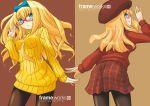 akatsuki_(artist) blonde_hair blue_eyes bow long_hair looking_back pantyhose plaid plaid_skirt skirt sweater sweater_dress tartan turtleneck