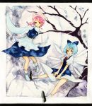bad_id black_eyes blue_hair boots cirno dress hair_ribbon legs letty_whiterock multiple_girls pink_hair pinkxxxna ribbon shoes short_hair short_sleeves smile socks touhou traditional_media tree turtleneck watercolor_(medium) wide_sleeves wings winter