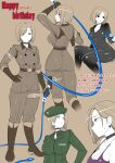 1girl belt boots choker earrings from_behind full_body happy_birthday highres jewelry jumpsuit military military_uniform multiple_views necktie okyou ring shirt t-shirt the_king_of_fighters uniform whip whip_(kof)