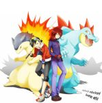 2boys alternate_costume baseball_cap black_hair cue_stick feraligatr gloves goggles gold_(pokemon) grey_eyes hat holding holding_poke_ball minto multiple_boys poke_ball pokegear pokemon pokemon_(creature) pokemon_(game) pokemon_gsc pokemon_special red_eyes red_hair redhead silver_(pokemon) title_drop typhlosion unown unownglyphics yellow_eyes