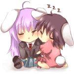 animal_ears bad_id brown_hair bunny_ears cheek_to_cheek chibi inaba_tewi long_hair mitsu_yomogi purple_hair rabbit_ears reisen_udongein_inaba short_hair sleeping touhou