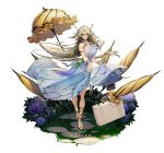 1girl armlet bare_shoulders breasts dress earrings flower full_body hair_between_eyes hair_flower hair_ornament hair_ribbon han-0v0 highres jewelry large_breasts looking_at_viewer platinum_blonde_hair ribbon signature solo song_of_time suitcase umbrella yellow_eyes