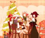 ^_^ alternate_hairstyle bat_wings blonde_hair blue_hair braid cake chair christmas christmas_tree closed_eyes cup flandre_scarlet food gift hat head_wings hong_meiling izayoi_sakuya koakuma long_hair maid maid_headdress merry_christmas necktie open_mouth patchouli_knowledge purple_eyes purple_hair red_eyes red_hair remilia_scarlet ribbon santa_hat short_hair silver_hair sitting smile star sugi table teacup the_embodiment_of_scarlet_devil touhou twin_braids vest wings