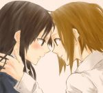 akiyama_mio blush brown_hair eye_contact gogono_pan'ya gogono_panya hairband hime_cut k-on! long_hair multiple_girls school_uniform short_hair tainaka_ritsu yuri