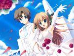 asuka_mirai blue_eyes brown_hair elbow_gloves flower flowers game_cg long_hair mikeou nanairo_kouro rose wedding_dress