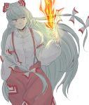 albino bad_id bow fire fujiwara_no_mokou grey_hair hair_ribbon long_hair pants red_eyes ribbon shirt smile solo suspenders touhou tsugu white_background