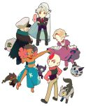 2girls 4boys alternate_costume anklet back-to-back bad_anatomy banette barefoot black_hair blonde_hair blue_eyes blue_hair cape chibi closed_eyes coat crossed_arms curtsey dark_skin dress elite_four everyone facial_hair female flower fuyou_(pokemon) genji_(pokemon) glalie grey_hair hair_flower hair_ornament hands_on_hips hat highres jewelry kagetsu_(pokemon) looking_back luvdisc male mightyena mikuri_(pokemon) multiple_boys multiple_girls mustache pants pokemon pokemon_(creature) pokemon_(game) pokemon_emerald pokemon_rse prim_(pokemon) prima_(pokemon) red_eyes red_hair redhead sableye sarong shelgon short_hair silver_hair simple_background smile tsuwabuki_daigo tubetop ucchii white_background yellow_eyes