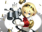 android armband blonde_hair blue_eyes bodysuit casing_ejection cygnus_(artist) drum_magazine gloves headphones necktie persona persona_3 revised revision shell_casing short_hair smile solo wallpaper weapon
