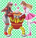 2girls ^_^ ^o^ aphrodite_a blush boss_(mazinger_z) brown_hair cat_ears closed_eyes dark_skin great_mazinger heart hearts honoo_jun mazinger_z mecha mecha_musume venus_a yumi_sayaka