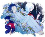 blue_hair bracelet cloak earrings flower gouenji_shuuya inazuma_eleven inazuma_eleven_(series) inazuma_eleven_go ishido_shuuji jewelry male mole multicolored_hair ono_(0_no) sleeping spiked_bracelet spikes tears tsurugi_kyousuke tsurugi_yuuichi white_hair