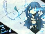 black_clothes black_rock_shooter black_rock_shooter_(character) blue blue_eyes blue_hair boots chain cloak feathers female hotpants kuroi_mato long_hair scar solo twintails weapon
