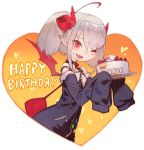 1girl ;d ahoge albino alternate_hairstyle bag bangs bare_shoulders belt_collar birthday_cake cake character_name collar commentary_request curled_horns demon_girl demon_horns demon_wings fang food grey_hair handbag happy_birthday heart highres holding_cake horns lack leash looking_at_viewer makaino_ririmu multicolored_hair nijisanji off_shoulder one_eye_closed open_mouth plate pointy_ears red_bag red_collar red_eyes red_horns red_wings shiina_yuika sleeves_past_fingers sleeves_past_wrists smile solo strawberry_shortcake streaked_hair twintails upper_body very_long_sleeves wings zipper zipper_pull_tab