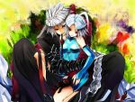 1girl ahoge black_gloves blazblue bodysuit braid bridal_gauntlets couple eyepatch female gloves gond green_eyes grey_hair grin heterochromia hug hug_from_behind kneeling long_hair male mouth_hold nu-13 pants ragna_the_bloodedge red_eyes red_ribbon ribbon short_hair silver_hair single_braid sitting smile spiked_hair spiky_hair trenchcoat