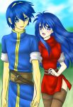 1boy 1girl belt blue_hair blush caeda_(fire_emblem) couple eye_contact fire_emblem fire_emblem:_monshou_no_nazo fire_emblem:_shin_ankoku_ryuu_to_hikari_no_tsurugi fire_emblem_11 fire_emblem_3 fire_emblem_mystery_of_the_emblem fire_emblem_shadow_dragon holding_hands husband_and_wife intelligent_systems long_hair marth marth_(fire_emblem) nintendo sheeda tiara yuinopartyyou127
