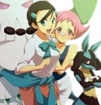 2girls abomasnow bandaid black_hair blue_eyes blush gym_leader hair_ornament hairclip hirococo hirococo_(hakka) lowres lucario multi-tied_hair multiple_girls pink_eyes pink_hair pokemon pokemon_(game) pokemon_dppt ribbon school_uniform skirt sleeves_rolled_up snover sumomo_(pokemon) suzuna_(pokemon) sweater_around_waist
