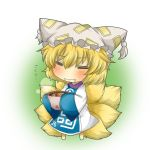 aburaage blonde_hair blue_dress blush bowl chibi closed_eyes dress drooling eyes_closed fang food fox_tail hat hat_with_ears kitsune_udon multicolored_dress multiple_tails rebecca_(keinelove) rebecca_(naononakukoroni) short_hair solo tail touhou translated translation_request wavy_mouth white_dress yakumo_ran