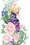 blonde_hair closed_eyes eyes_closed flower hair_flower hair_ornament japanese_clothes kimono moriyama_shiemi nii_(ao_no_exorcist) raka short_hair solo