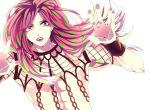 1boy against_glass diavolo jojo_no_kimyou_na_bouken lipstick long_hair makeup milkamutea051 pink_eyes pink_hair solo