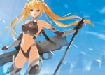 :d armpits bare_shoulders black_legwear blonde_hair blue_eyes blue_sky breasts cloud crop_top elbow_gloves gloves gun hair_ribbon halter_top halterneck highleg long_hair looking_at_viewer mecha_musume midriff navel open_mouth original prime ribbon robot_ears sky smile solo sword thigh-highs thighhighs twintails weapon