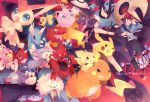 baseball_cap brown_hair cherubi donphan dragonair druddigon english foongus glameow hat jacket jigglypuff lampent lucario lunatone magmortar mantine minun outstretched_arm pichu pikachu plusle poke_ball pokemon pokemon_(game) pokemon_black_and_white pokemon_bw raichu remoraid scizor seaking smile spiky-eared_pichu stunky t0mare tomare_(akashingou) touko touko_(pokemon) touya_(pokemon) victini walrein zekrom