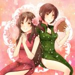 ahoge axis_powers_hetalia bare_shoulders breasts brown_eyes brown_hair china_dress chinadress chinese_clothes cleavage cleavage_cutout fan flower hair_flower hair_ornament kourai_jinjin long_hair multiple_girls oppai ponytail side_slit smile taiwan_(hetalia) vietnam_(hetalia)