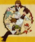 2boys :d alternate_costume apron blue_(pokemon) bowtie brown_hair corn_(pokemon) corn_(pokemon)_(cosplay) cosplay cup cupcake dent_(pokemon) dent_(pokemon)_(cosplay) flower food hair_between_eyes holding long_hair monkey multiple_boys ookido_green open_mouth orange_background panpour pansage pansear pod_(pokemon) pod_(pokemon)_(cosplay) pokemon pokemon_(game) pokemon_black_and_white pokemon_blue pokemon_bw pokemon_frlg pokemon_red_and_green pokemon_rgby pokemon_special pouring red_(pokemon) rose smile tea teacup teapot tray umeco_0516 umeko_(0516) waiter waitress wink