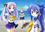 beach blue_eyes blue_hair green_eyes hair_ribbon hiiragi_kagami hiiragi_tsukasa izumi_konata long_hair lucky_star ponytail purple_eyes ribbon rindou_(awoshakushi) school_uniform serafuku twintails violet_eyes