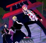 ao_no_exorcist bad_id beads black_hair blonde_hair brothers highres male multiple_boys necktie ono_(0_no) pink_hair prayer_beads shakujo shima_juuzou shima_kinzou shima_renzou siblings torii