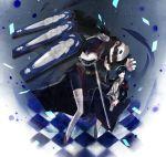 armband blue_eyes blue_hair chain checkered checkered_floor evoker gun hair_over_one_eye high_res highres male mentaishi persona persona_3 sword thanatos weapon