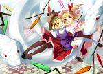 animal blonde_hair brown_legwear dress flandre_scarlet giant_animal hair_ribbon hat hoop mishaguji moriya_suwako multiple_girls open_mouth oversized_animal pantyhose purple_dress red_dress red_eyes ribbon shirt side_ponytail smile snake thighhighs touhou white_legwear wings yellow_eyes yoshino_ryou zettai_ryouiki