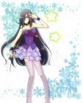 hair_over_one_eye kyouya_(oretsuba) long_hair microphone oretachi_ni_tsubasa_wa_nai purple_eyes raiko_(abckids1008) skirt star thigh-highs thighhighs violet_eyes wrist_cuffs