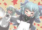 >_< alternate_costume apron blue_hair blush bow bowing butler cirno commentary_request daiyousei embarrassed enmaided fairy_wings formal gaoo_(frpjx283) gloves green_hair hair_bow large_bow maid maid_headdress multiple_girls o_o open_mouth ribbon short_hair side_ponytail smile star touhou towel wavy_mouth wings xd