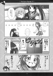 blush comic genderswap glasses highres kadoseara kyonko long_hair monochrome nagato_yuuki ponytail school_uniform short_hair suzumiya_haruhi_no_yuuutsu taniguchi_(female) translation_request