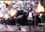 airplane akemi_homura at4 bazooka black_hair caterpillar_tracks epic firing flakpziv_moebelwagen hairband high_heels letterboxed long_hair m253_mortar magical_girl mahou_shoujo_madoka_magica mecha_to_identify military military_vehicle mortar mortar_(weapon) pantyhose revised revision rocket_launcher rpg shoes shouin skirt smoke solo tank vehicle weapon
