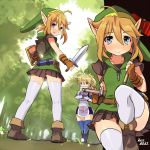 2girls bag blonde_hair blue_eyes female genderswap hammer hat key kneepits link mikumikudance nintendo ponytail randoseru red_eyes sheik shield skirt smile surcoat sword tabard the_legend_of_zelda thighhighs trap weapon yajiro_masaru zettai_ryouiki