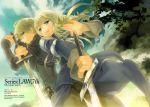 armor blonde_hair braid english final_fantasy final_fantasy_tactics knight long_hair ramza_beoulve short_hair single_braid sword tooka weapon