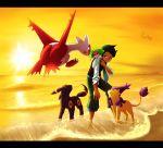1boy arano_hachi delcatty frontier_brain latias nejiki_(pokemon) ocean pokemon pokemon_(creature) pokemon_(game) rayquaza shaymin sunset umbreon wading water
