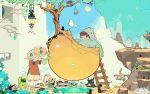 artist_request bird bus crane hanafuda hat highres katana ladder mononoke_(empty) motor_vehicle original phone red_eyes red_hair redhead samurai short_hair surreal sword vehicle weapon