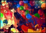 balloon brown_hair costume endou_mamoru footwear gift globe gouenji_shuuya hat inazuma_eleven inazuma_eleven_(series) kazemaru_ichirouta kidou_yuuto kiyama_hiroto male merusuke ribbon short_hair socks tachimukai_yuuki thigh-highs thighhighs top_hat v