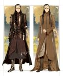 2boys armor artist_name black_hair dated dual_persona elf elrond long_hair lord_of_the_rings multiple_boys pointy_ears psd signature the_hobbit