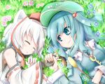 flower grass hand_holding holding_hands inubashiri_momiji kawashiro_nitori lying meadow multiple_girls sirousagi0414 smile touhou