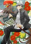daba_(toshiaki-tamach) flower grey_eyes narukami_yuu persona persona_4 scabbard school_uniform seta_souji sheath short_hair sword unsheathing weapon