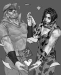 2boys aruolrn beard facial_hair gloves greyscale hat jojo_no_kimyou_na_bouken joseph_joestar monochrome multiple_boys photo_(object) rykiel time_paradox