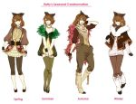 brown_hair earrings gloves jewelry leggings micho necklace pantyhose personification pokemon pokemon_(game) pokemon_black_and_white pokemon_bw sawsbuck seasons shawl thigh-highs thighhighs
